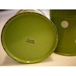 日本綠水玉點點厚琺瑯罐