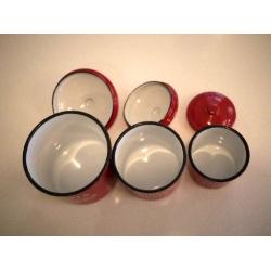 日本紅色琺瑯儲物罐