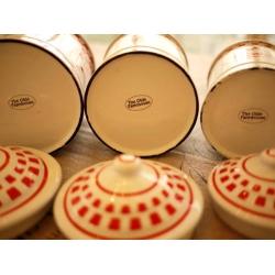 日本絕版品經典紅格子厚琺瑯置物罐