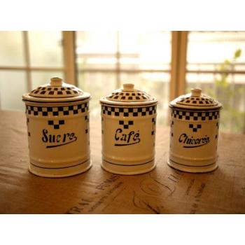 日本絕版品經典藍格子厚琺瑯置物罐