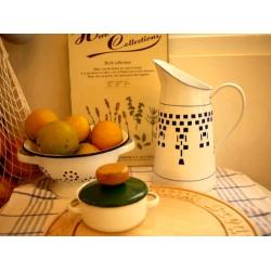 日本絕版品經典藍格子厚琺瑯冷水壺花器