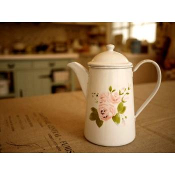 日本絕版品薔薇琺瑯壺