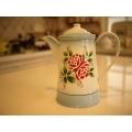 日本絕版品復古薔薇琺瑯壺