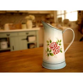 日本絕版品復古薔薇琺瑯冷水壺花器