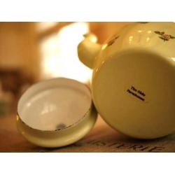 日本淡綠色小花琺瑯壺