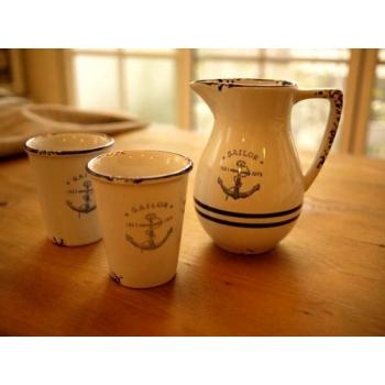 日本船錨陶瓷仿琺瑯一壺二杯
