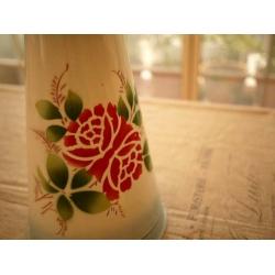 日本絕版品大型復古薔薇琺瑯花器