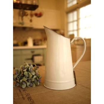 日本絕版品純白琺瑯冷水壺花器