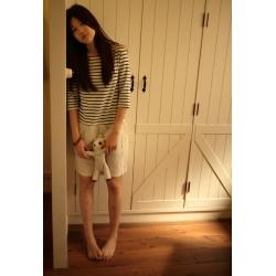 日本亞麻棉質米色藍條紋七分袖裙裝