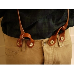 日本皮革吊帶卡其色8分褲