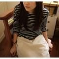 日本亞麻棉質米色白條紋藍底七分袖裙裝