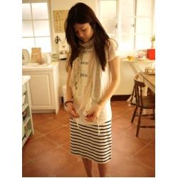 日本米白黑條紋裙
