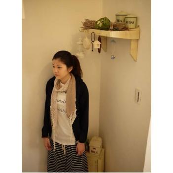 日本深藍米色條紋裙
