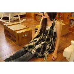 日本無袖墨綠米色格子裙