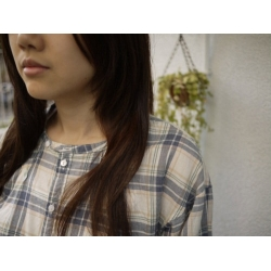 日本B.L.U.E純綿米藍色格子裙衣