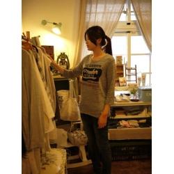 日本灰色七分袖棉T