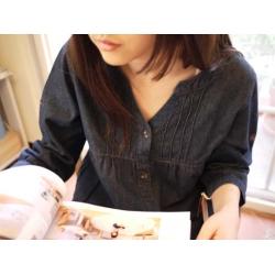 日本純棉深藍牛仔寬鬆裙衣