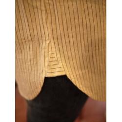 日本立領米色淡灰直條紋棉麻上衣