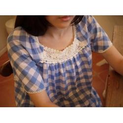 日本棉麻水藍色格子裙衣