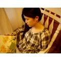 日本純棉木釦上衣(茶色咖啡格子米)