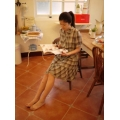 日本棉麻木釦灰藍咖啡格子裙衣