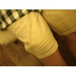 日本綠格上衣米色褲套裝