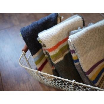 日本條紋彩色毛質圍巾