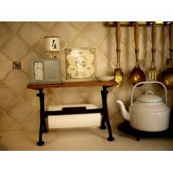 日本鑄鐵實木廚房紙巾架