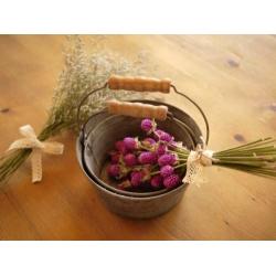 日本圓馬口鐵木把花器(大小入)