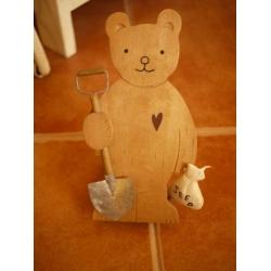 日本原木製園藝小熊門擋
