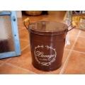 日本咖啡色原木木把鐵製置物桶
