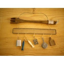 日本實木叉子鐵絲掛飾