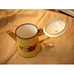 德國古董舊黃色琺瑯壺