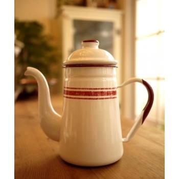 法國亞麻布紅邊琺瑯壺
