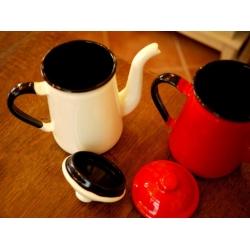 日本可愛紅(牙白)小琺瑯壺