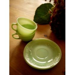 美國1950年火王翡翠色咖啡杯盤組