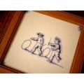 歐洲手繪陶瓷橡木框畫