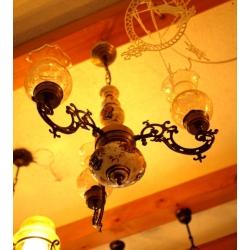 法國鄉村古董燈手繪陶瓷