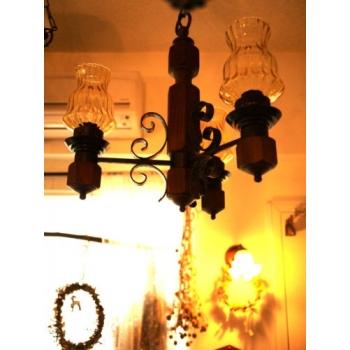 法國鄉村古董燈琥珀黃3燈