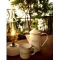 日本COFFEE水藍邊白琺瑯壺