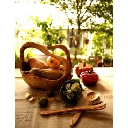 義大利進口橄欖木大沙拉盛物碗籃