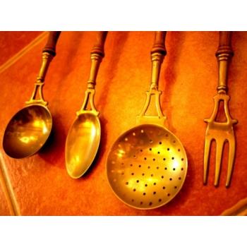德國古董黃銅廚房用具掛飾組(大)