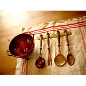 德國古董黃銅廚房用具掛飾組(中)