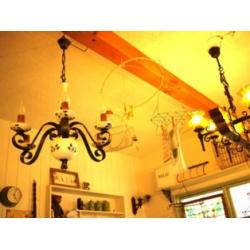 西班牙古董陶瓷藍花蠟燭六燈