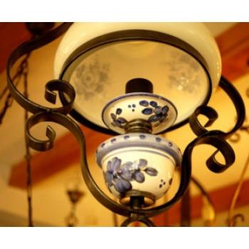 西班牙古董手繪藍花陶瓷吊燈