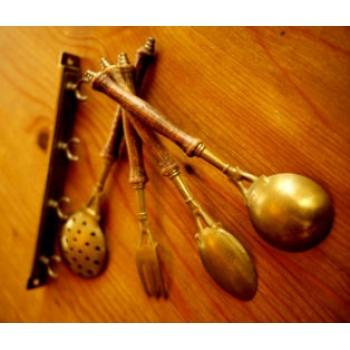 德國古董黃銅廚房用具掛飾組(小)