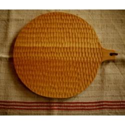 日本職人手作刻紋實木料理板(圓)