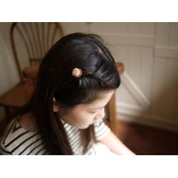 日本木質毛線球髮夾