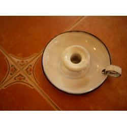 德國淺水藍古董琺瑯燭台